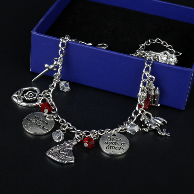 Once Upon A Time Inspired Charm Bracelet - Emma Swan Talisman Antique Silver Charms CcBkfWg