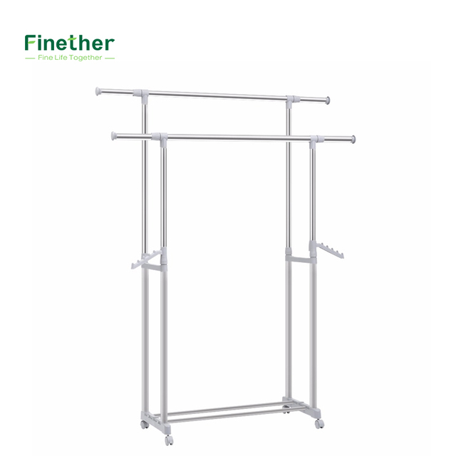 Finether Adjustable Rolling Garment Rack Clothes Storage Organization Drying Hanging Portable Wardrobe with Bottom Storage