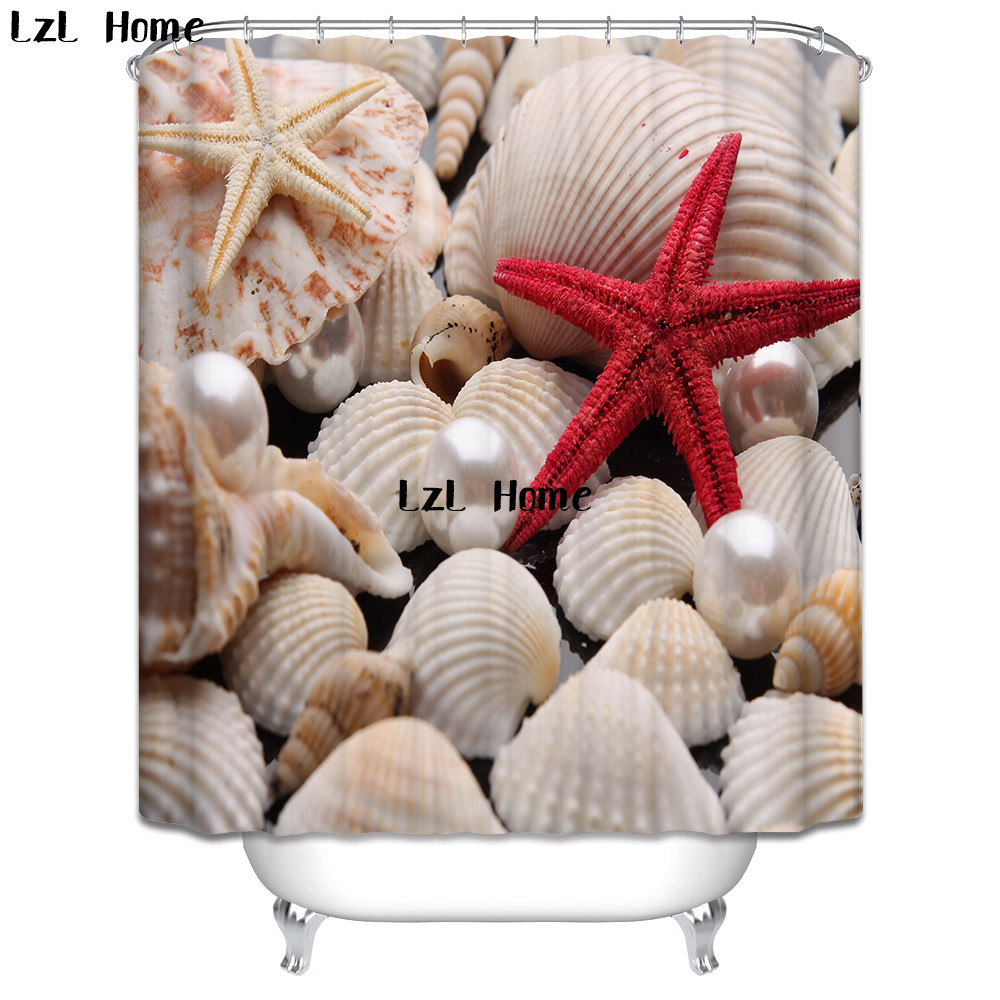 LzL Home High Quality 3D Starfish Shower Curtain Waterproof Mildewproof Bathroom Curtain Bath Decor With Hooks Marriage Gifts