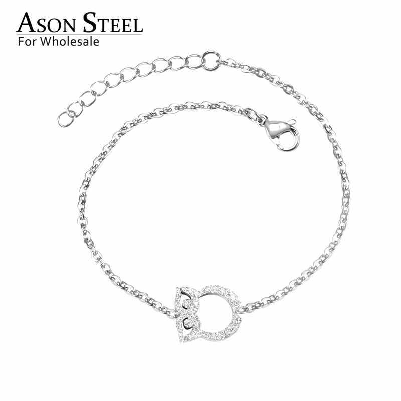 ASONSTEEL หญิงกำไลข้อมือ Snowflake Owl หัวใจทอง/เงิน 316L สแตนเลส Curb Cuban Link Chain สร้อยข้อมือคริสต์มาส