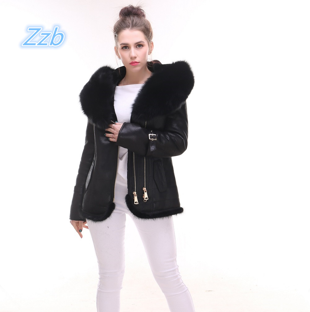 2018 Winter Leather Fur Jacket women Real Fox fur collar Leather fur hood coat thick jacket High quality Natural fur Outfit