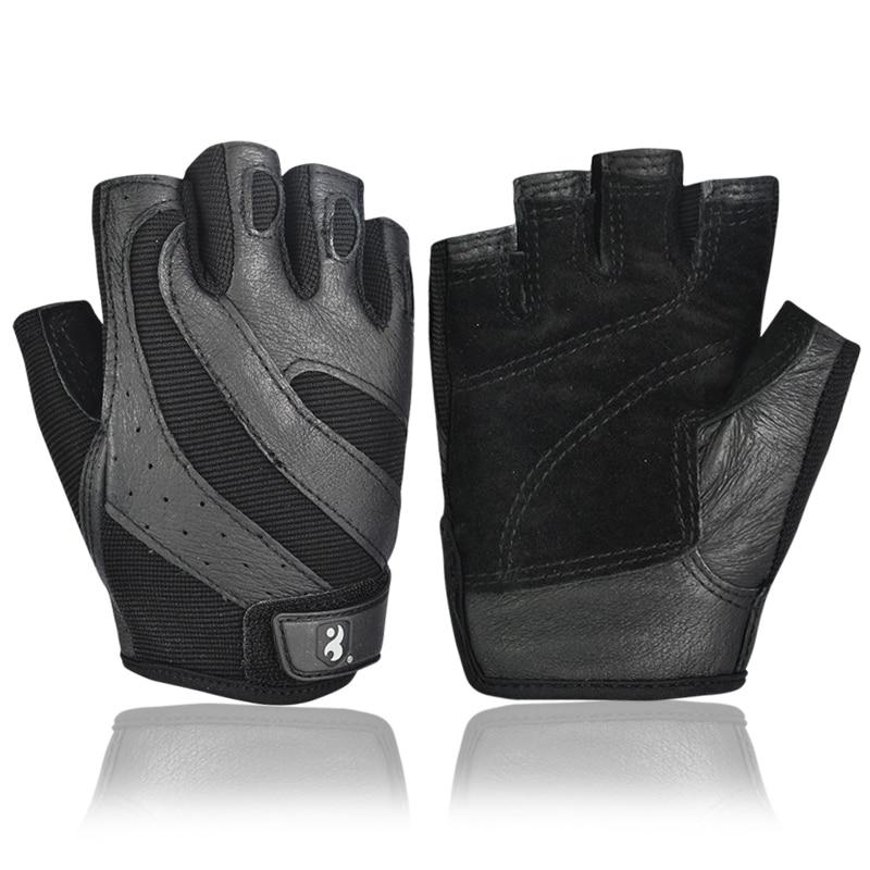 Half Full Finger Leather Training Body Building Fitness Gloves For Men