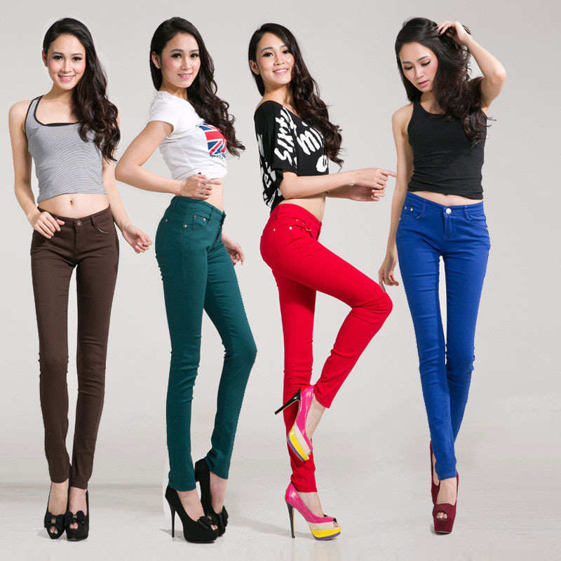 High Elastic Leggings Stretch Pants Female Spring Style Candy Slim Slimming Denim Pencil Pants Long Section Waist Pants
