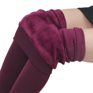 Image 5 - Mallas de punto de terciopelo para mujer, Leggings informales, elásticos, gruesos, negro cálido, pantalones pitillo, para invierno