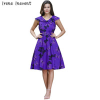 Irene Inevent 2017 Women Summer Dresses Elegant Floral Butterfly Print Charming Casual Vintage Evening Party Dress
