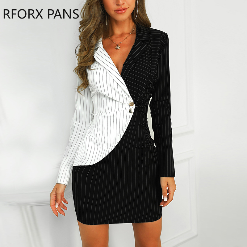 Contrast Color Striped Insert Blazer Office Look Notched Neck Work  Dresses
