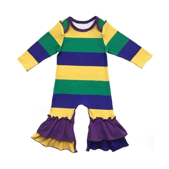 Purple Green Gold color custom print Infant clothes silk milk Jumpsuit Romper baby gowns for NEW ORLEANS Mardi Gras holiday