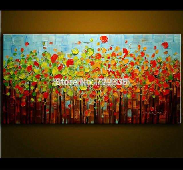Handgemalte Ölgemälde Spachtel Farbe Dick Bunte Baum Malerei Modernen Haus  Kunst Leinwand Wand Wohnzimmer Decor Bild