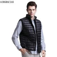 AIRGRACIAS Winter Duck Down Vest Men Ultra Light 90 Duck Down Vest Loose Waistcoat Vest Sleeveless