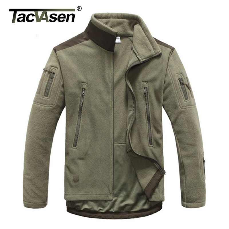 TACVASEN Tactical Military Fleece Jacket Men Thermal Shark Skin Patch Camp Hunt Jackets Warm Army Clothes lurker shark skin soft shell v4 military tactical jacket men waterproof windproof warm coat camouflage hooded camo army clothing