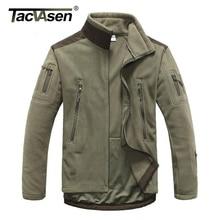 TACVASEN Taktische Militärische Fleece Jacke Männer Thermische Shark Haut Patch Lager Jagd Jacken Warme Armee Kleidung