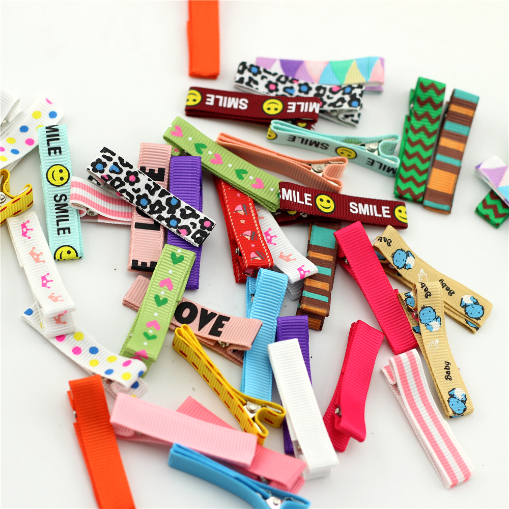 10pcs Lined Alligator Clips Lined Clip Flower Printed Small Infant Hair Clip baby Metal Clips Girls grosgrain Hairpins bebe Bows