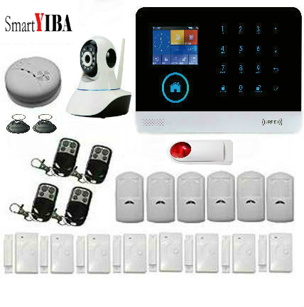 SmartYIBA WIFI GSM GPRS RFID Card Wireless Home Security Hand free Alarm System, LCD Display Fire Detector Alert APP control smartyiba wireless gsm home alarm system lcd touch screen gprs wifi gsm security system rfid motion detector fire smoke sensor