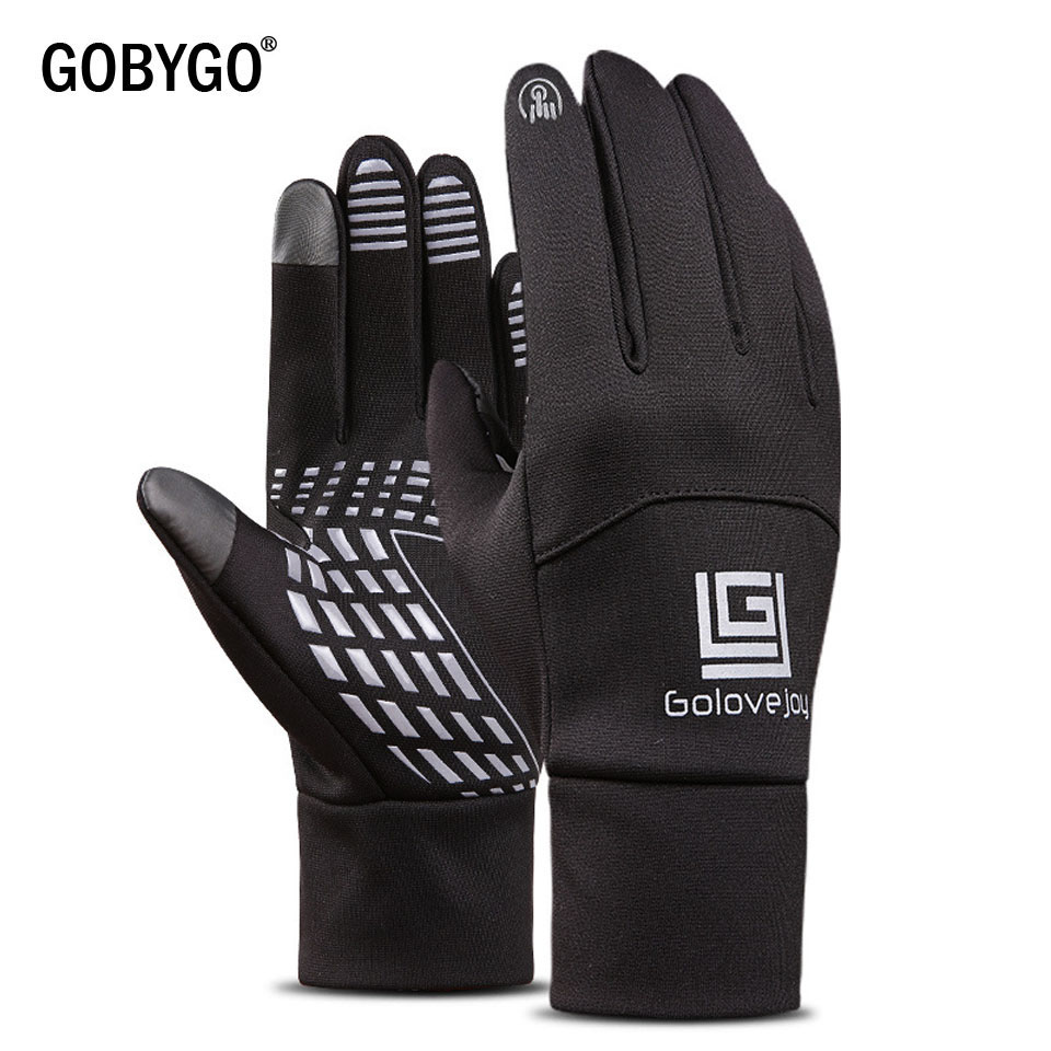 GOBYGO Waterproof Fleece Men Women Ski Gloves Wind-proof Thermal Touch Screen Outdoor Sport Cycling Snowboard Gloves