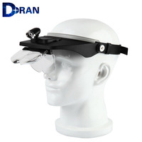 Head Magnifying Glasses with LED 10 Power Magnifier for Reading Optivisor Magnifying Glass Loupes Jewelry Watch Repair 3 Lamp