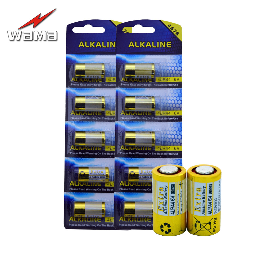 10 unidades/pacote Wama Pilhas Alcalinas PX28A 4LR44 6 V 476A L1325 Bateria Primária para Substituir de Choque Do Cão/Coleiras de Treinamento câmera de Celular