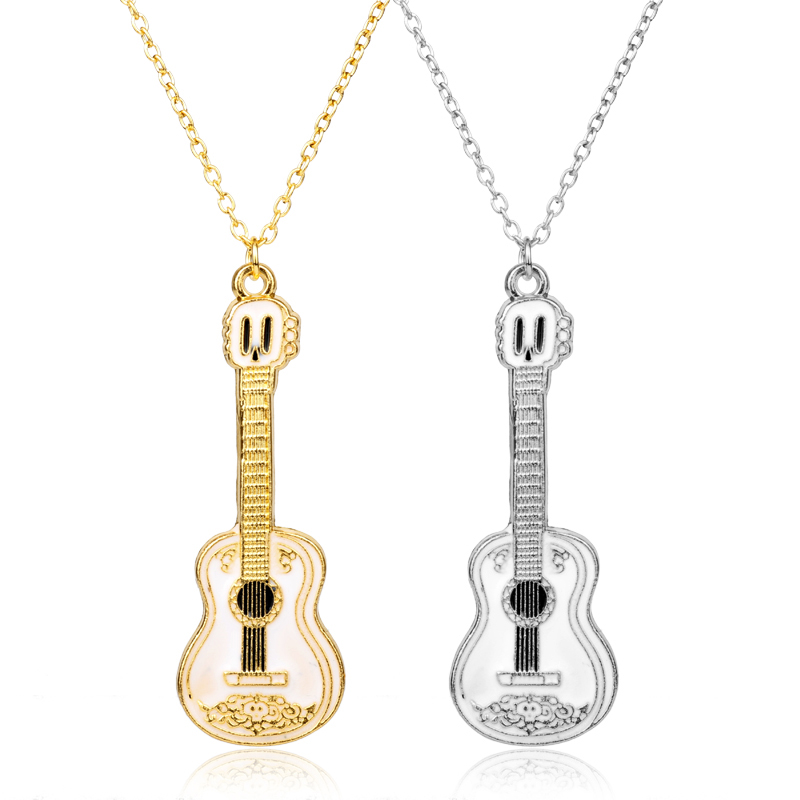 MQCHUN Guitar Necklace For Men Women Kid Music Lover Gift Silver Gold Color Cocoes Necklace Pendant Chain Hip Hop Rock Jewelry-3