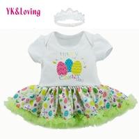 Yk & loving día de Pascua partido Infantil Niño niña bautismo ropa blanco manga corta huevos luz verde Ruffles hilo diadema