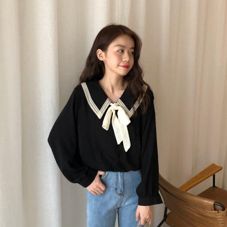 Blusas mujer de moda 2018 women autumn winter Japan style fresh long sleeve turn-down collar black white bowknot   blouse     shirt