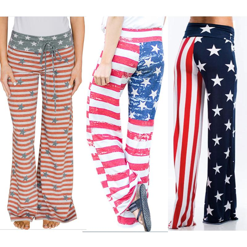 Women Stars Stripes USA Independence Day American Flag Trousers Wide Leg Pants