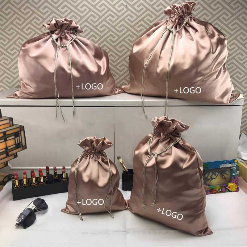 20pcs Custom Logo Packaging Bags Dust Bags for Shoes Packet Cosmetics Underware Hair Satin Bag Make up Bags Custom Size
