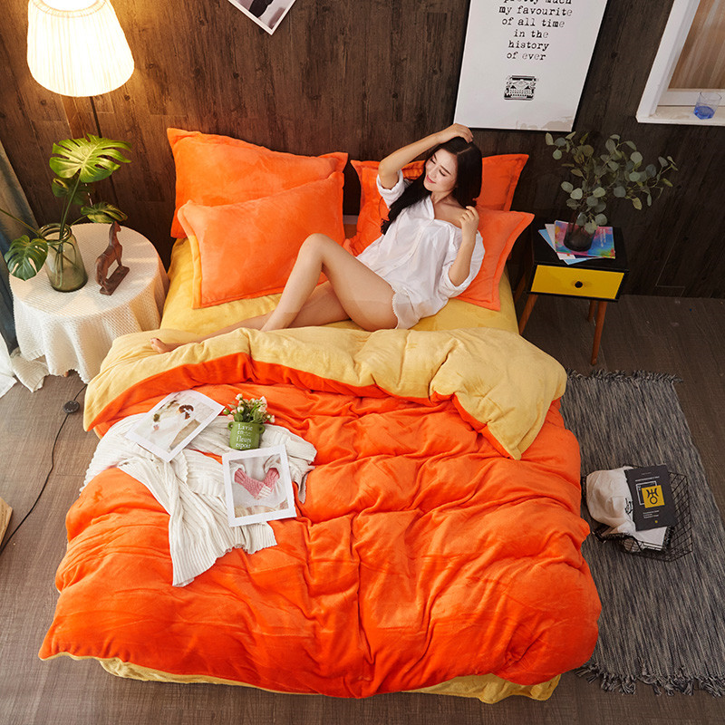 Контраст Цвет фланель постельное белье покрывало постельные принадлежности сплошной Цвет постельное белье для 1,2 м-2 м кровать односпальна...