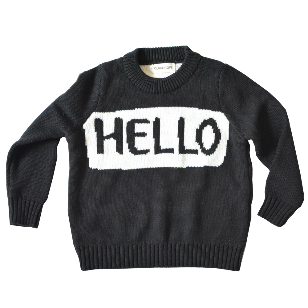 QUIKGROW Thick Warm Black White 'Hello Bye' Long Sleeve Crew Neck Baby Girl Sweater Infantil Boy Pullover Jumpers YM06MY