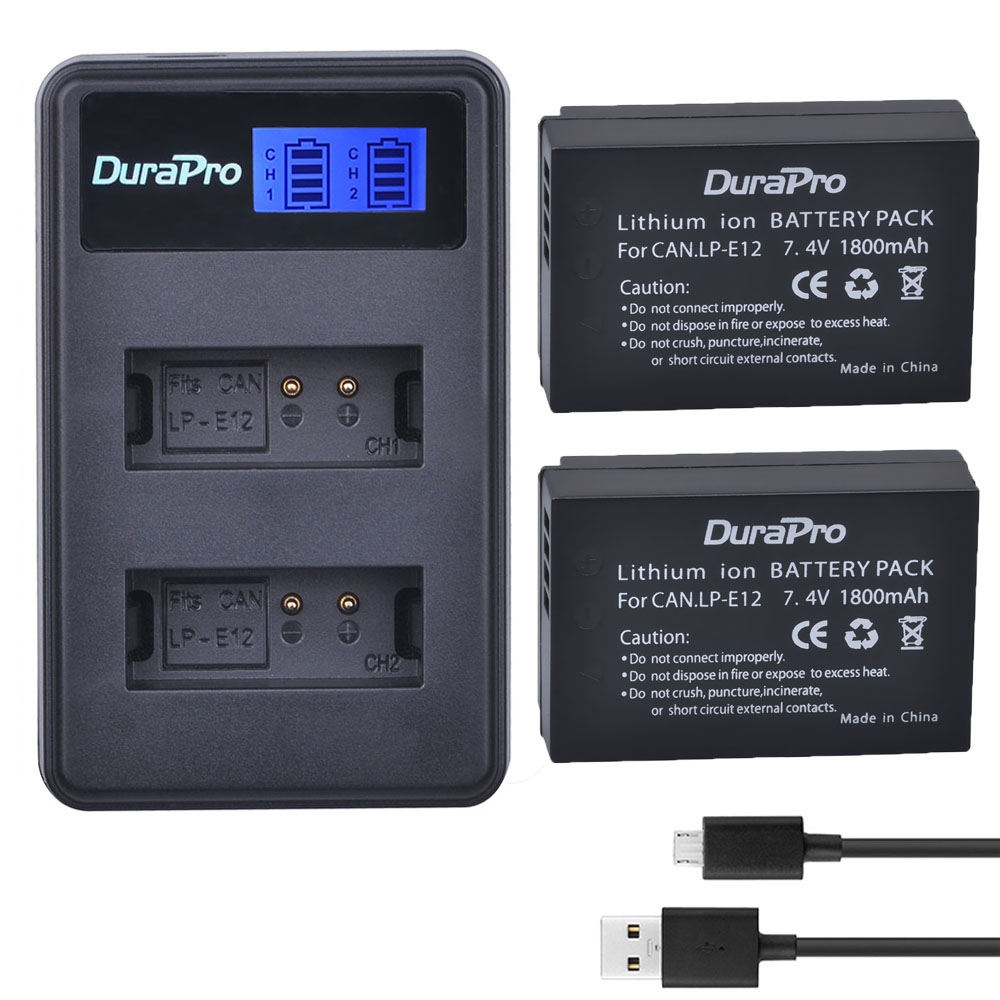 2 x DuraPro <font><b>LP</b></font>-<font><b>E12</b></font> LPE12 <font><b>LP</b></font> <font><b>E12</b></font> <font><b>Batteries</b></font> + LCD USB Dual Charger For Canon M 100D Kiss X7 Rebel SL1 EOS M10 DSLR Camera image