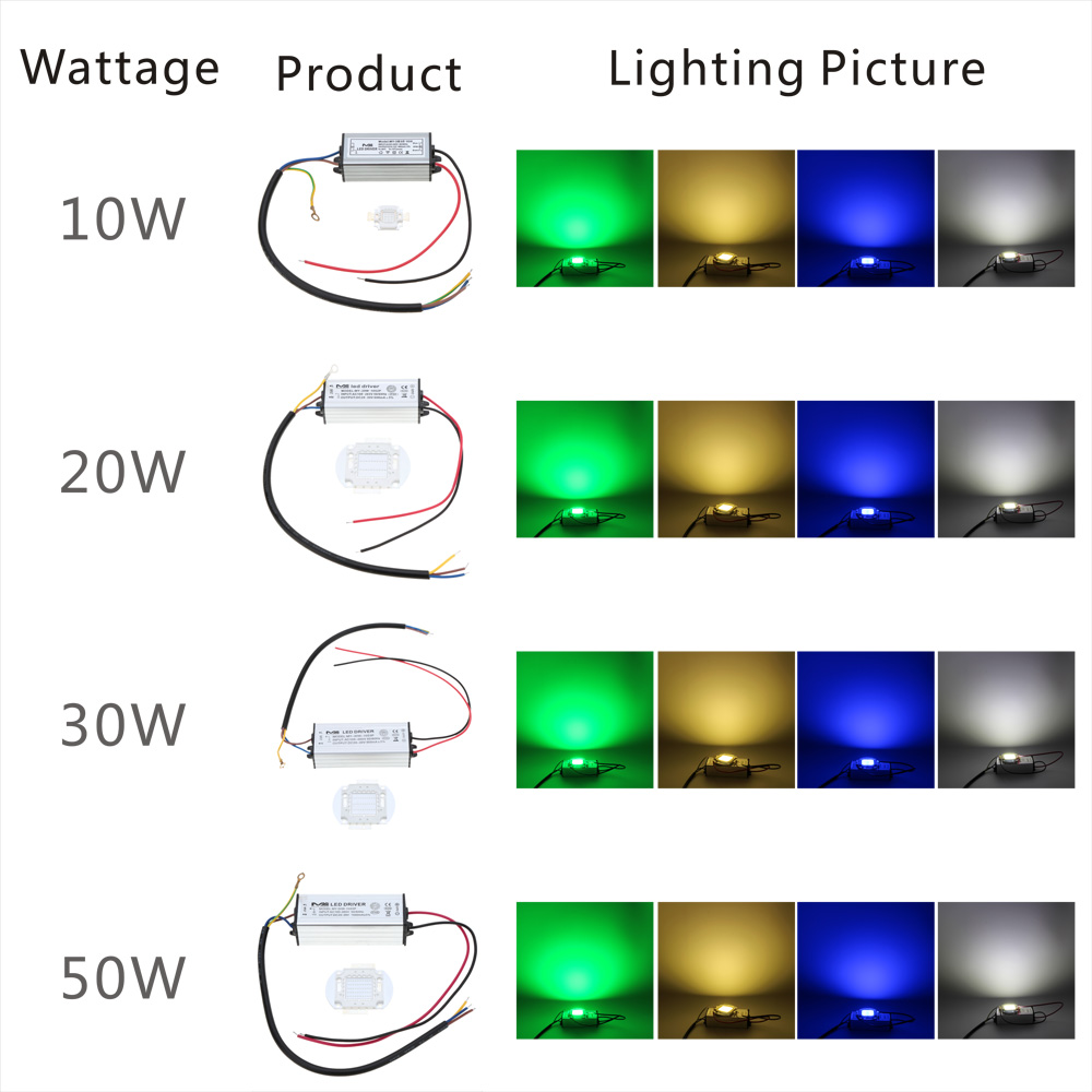 10w 20w 30w 50w High Led Lamp Chips Bulb With Driver For Diy Floodlight Spot Light Lawn Ip66 Water Resistant