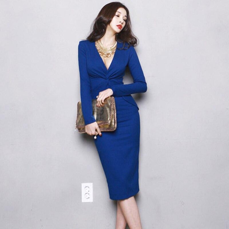 Hanches Slim Sexy Bleu À Col Robes longueur Robe Manches Dames Longues V Élégant Mode Femmes Paquet Parti Yp2074 Genou 8qp8w