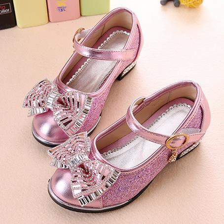25f224e5a21cf Children s Dance Shoes Spring Kids Fashion Princess Flat Shoes Girl Korean  Bow PU Leather Glitter School Girl Shoes Big Little-in Leather Shoes from  Mother ...