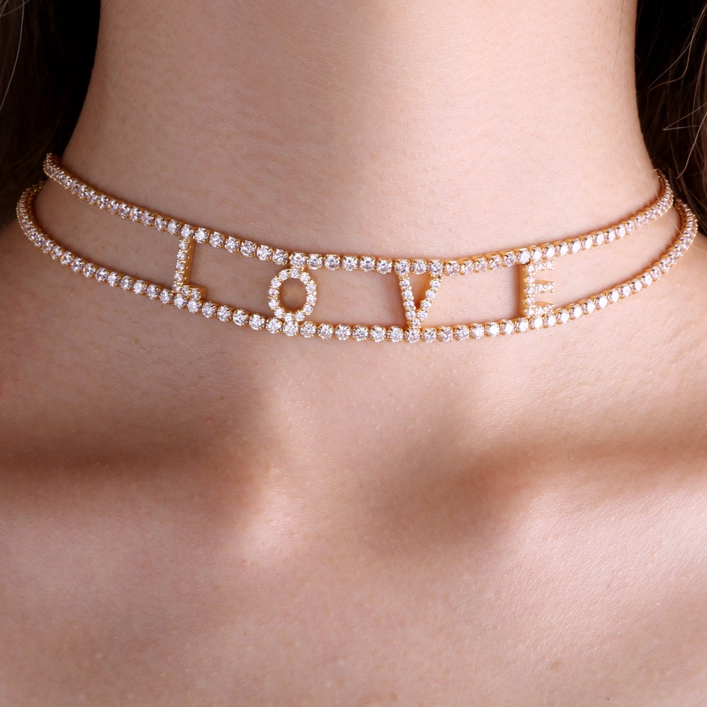 3UMeter Zircon custom Choker Personalized Name Plating Necklace Choker Dainity Chic Jewelry Fascinating Necklace for Etsy chic bells necklace