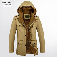 New Winter Jackets Men Coat Hat Detachable Jackets Long Sleeve Military Style Casual Outerwear Plus Size