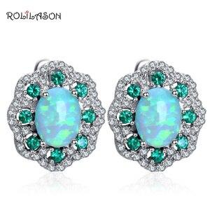 Rolilason цветок Дизайн фианит зеленый огненный опал Серебро 925 штампованные Клипсы Fashionl ювелирные изделия OE679
