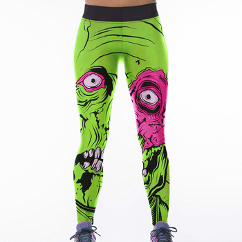 Women Green Zombie Mask Print High Waist Fitness Workout Cheerleader Rooter Pants Hiphop Party Elastic Fiber Unisex Trousers