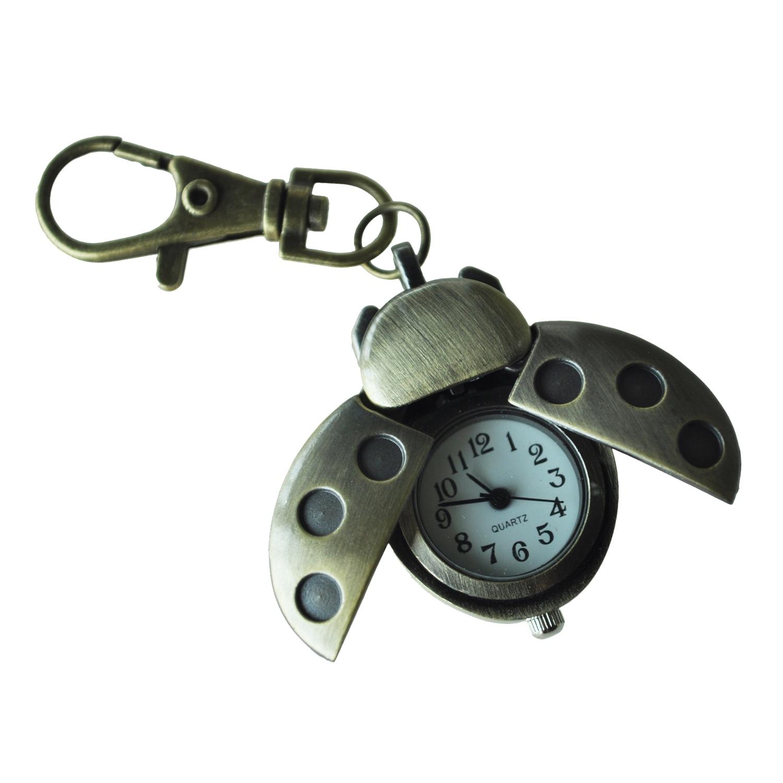 YCYS Cute Animal Beatles Fob Watches Bronze Tone Metal Ladybird Shape Pendant Key Ring Watch