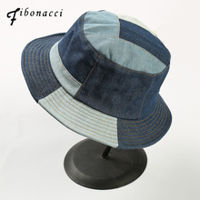 f326ec43461 Fibonacci 2018 New Bucket Hat Fishman Washable Cowboy Cotton Patchwork Flat Caps  Panama Men Women Bob