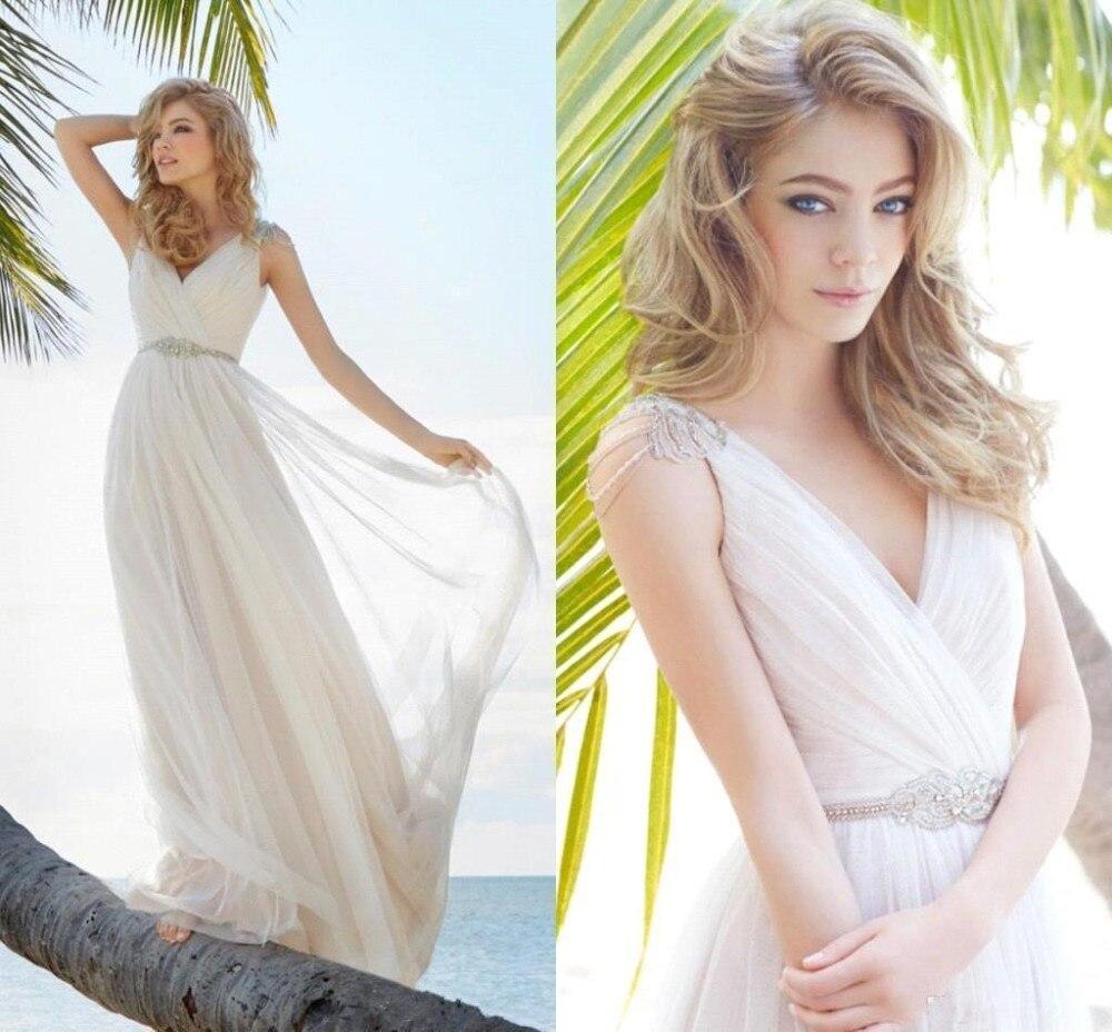 V Neck Beaded Wedding Gowns: New Arrival Beach Style V Neck Wedding Dresses Beaded