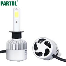 Partol H1 COB LED Headlight Bulbs 72W 8000LM Single Beam Auto Headlamp All In One Car LED Headlights Conversion Kit Fog Lamp 12V