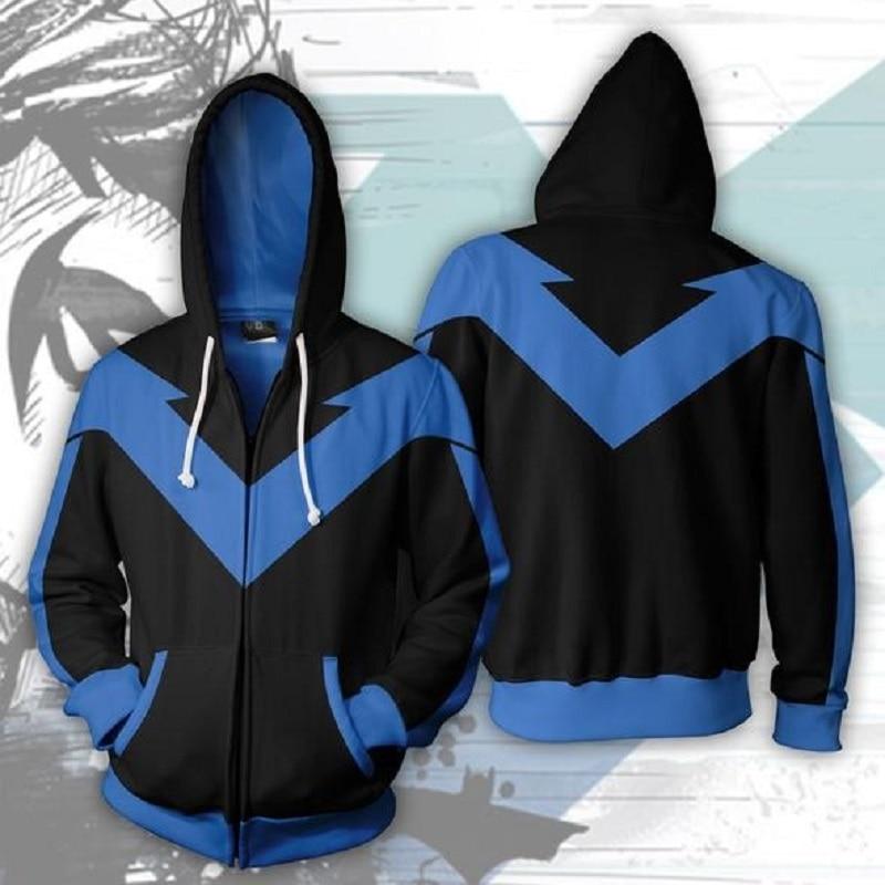 BIANYILONG 2019 New Autumn Winter 3D Print Nightwing Hoodies Sweatshirts Fashion Cosplay Casual Zipper Hooded Jacket Clothing