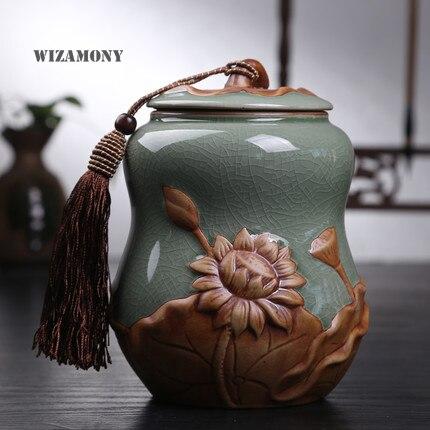 Middle Hot Sale Top Grade Crackle Glaze Longquan Celadon Ceramics Capacity Eco Friendly Tea Caddy Tea Canister Tea Porcelain Jar