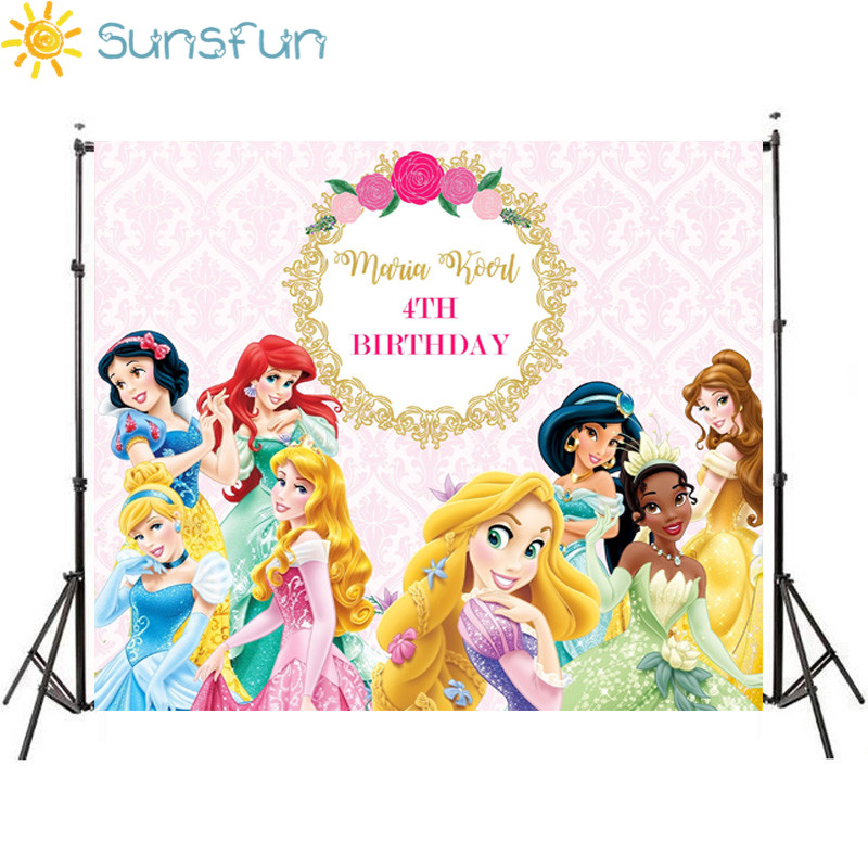 Sunsfun Fairy Tale Princess Photography Backdrop Pink Flower Gold Frame Girls Birthday Party Backgrounds For Photo Studio 7x5FT