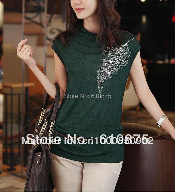 OL das mulheres plus size moda simples e elegante colarinho stand-up curto-de mangas compridas sólida perfuração quente T-shirt Magro G501 H515 3236