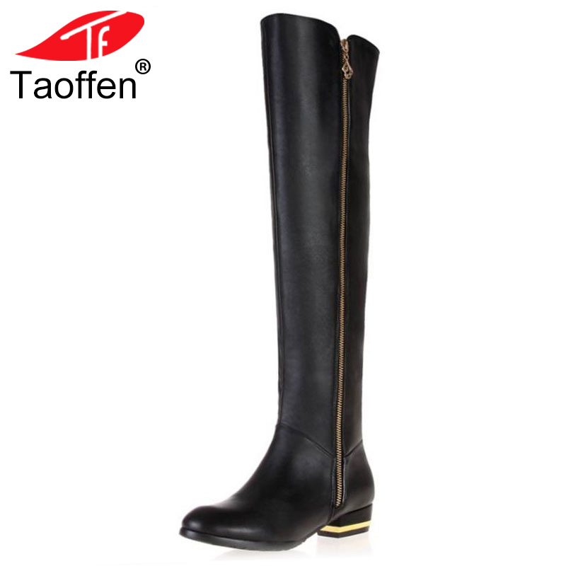 TAOFFEN Size 30-45 Women Real Genuine Leather Flat Over Knee Boots Fashion Long Boot Winter Botas Feminina Footwear Shoes R1537
