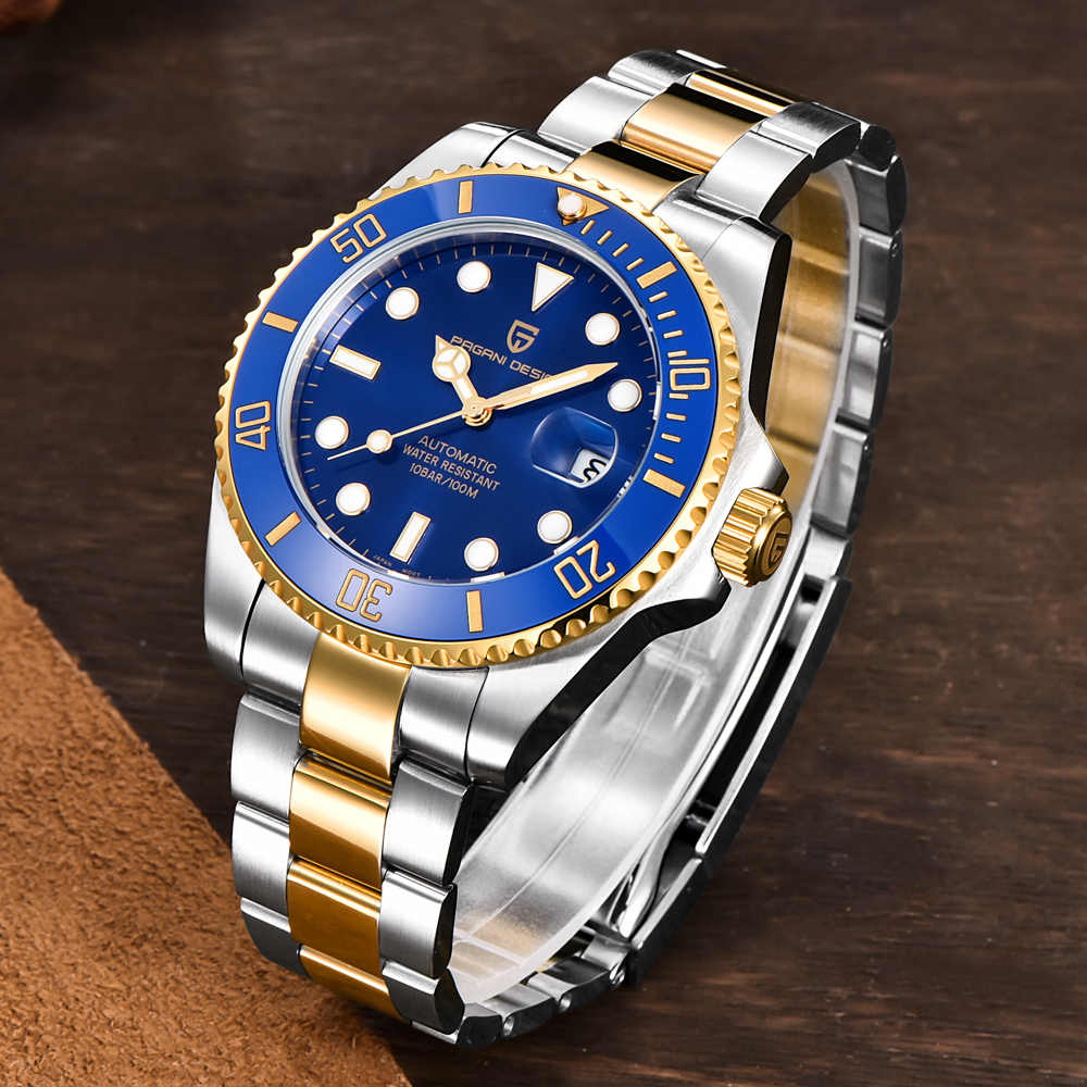 パガーニデザイン古典的な高級メンズ自動NH35A腕時計防水機械式機械式潜水時計レロジオmasculino