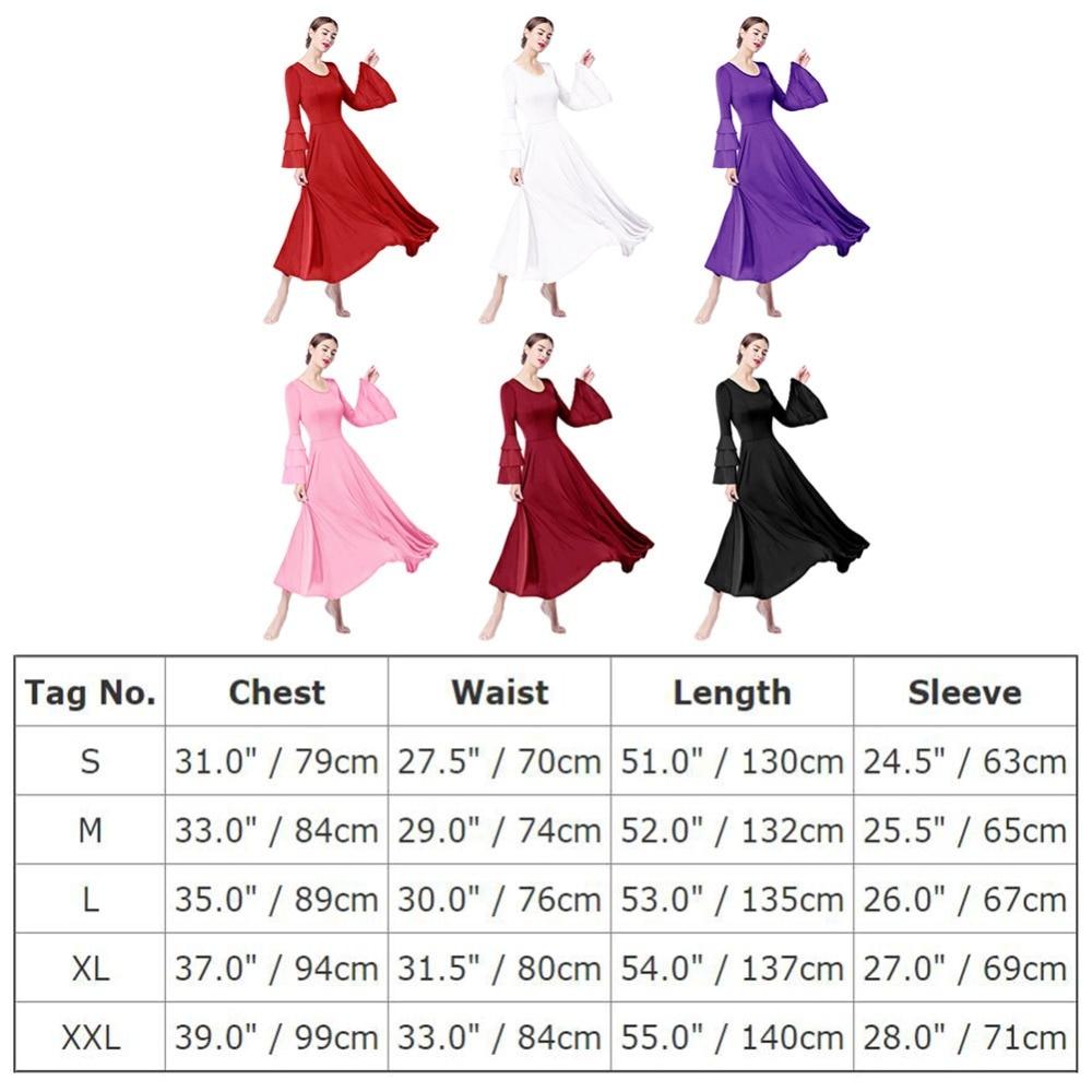 2019 Women Adults Ballet Dress Pleated Swing Long Dress Church Liturgical Dance Praise Dress Ballroom Waltz Tango Dance Dresses in Ballet from Novelty Special Use