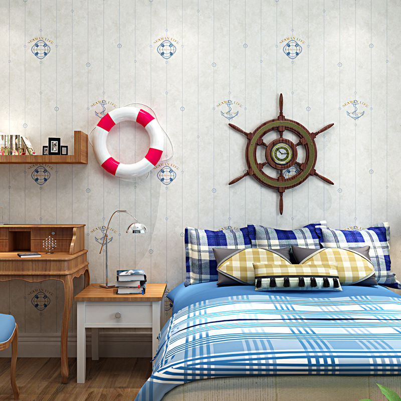 Boy's Room Decoration Wood Fiber Wallpaper The Seaman Anchor 0.53*10 M / Roll Home Wall paper-in Wallpapers from Home Improvement on Aliexpress.com ...