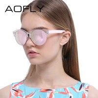 AOFLY Sunglasses Fashion Cat Eye Sun Glasses Retro Eyeglasses Women Brand Designer Mirror Round Shades UV400