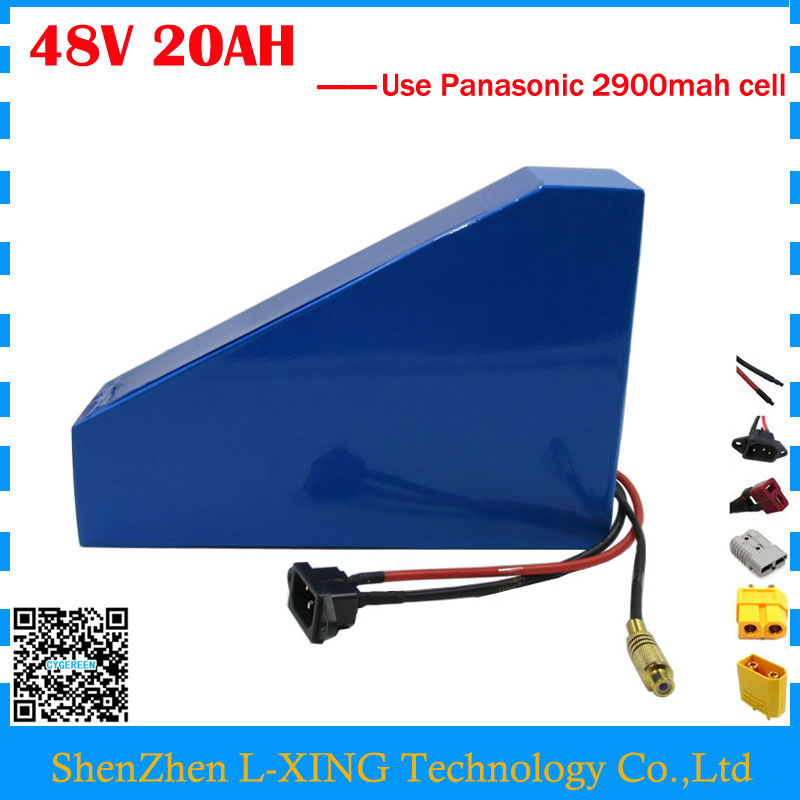 High quality 1200W 48V 20AH electric bike battery 48V 20AH triangle lithium battery use Panasonic 2900mah cell 30A BMS Free bag free customs taxes super power 1000w 48v li ion battery pack with 30a bms 48v 15ah lithium battery pack for panasonic cell