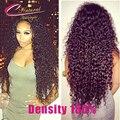 7А 100% Человеческих Волос Малайзии Вьющиеся Волосы Кружева Перед Парики Плотность 180% Толщиной Вьющиеся Полный Шнурок Человеческих Волос Парики Для Чернокожих Женщин
